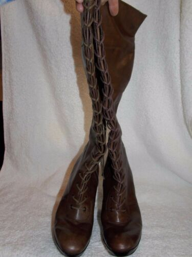 Nine West Brown Leather Lace Zipper Knee High Boot