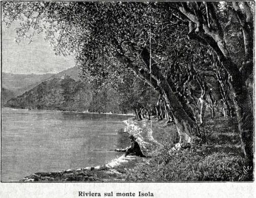 Passepartout.1898 Lago d/'Iseo Riviera sul Monte Isola Brescia.Stampa Antica