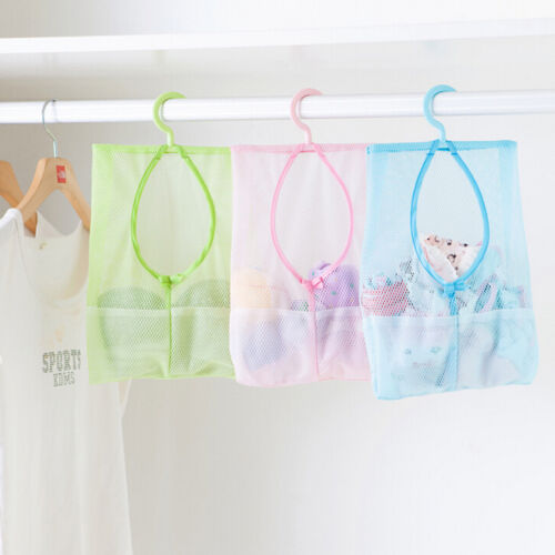 Bathroom Hanging Storage Clothespin Mesh Bag Organizer With Hanging Hook EF