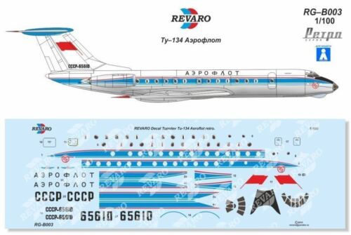 Revaro Decal Tu-134 Aeroflot Retro Le Bourget'1962 Veb Plasticart 1/100