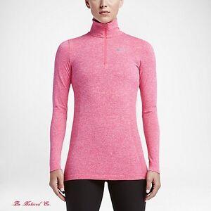 0f07e349ba Nike Dri-FIT Knit Half-Zip Women s Top L Shirt Pink Gym Casual ...