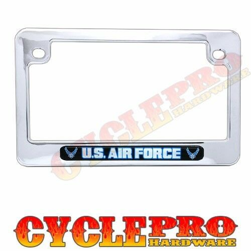 Chrome Metal USAF Air Force License Plate Frame Touring /& Street Motorcycle