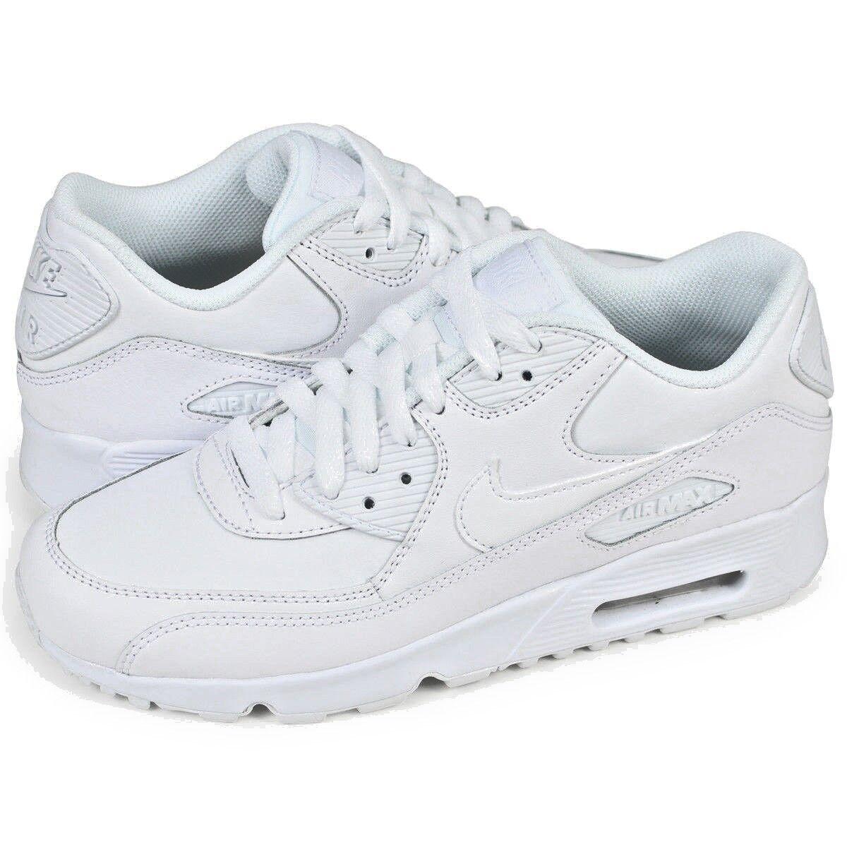 Scarpe Ragazzi Nike Air Max 90 Ltr (GS) 833412 100 Bianco scarpe da ginnastica Pelle Nuovo