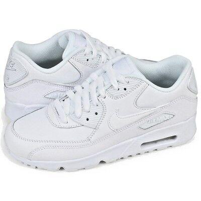 SCARPE RAGAZZI NIKE Air Max 90 Ltr (GS) 833412 100 Bianco Sneakers Pelle Nuovo