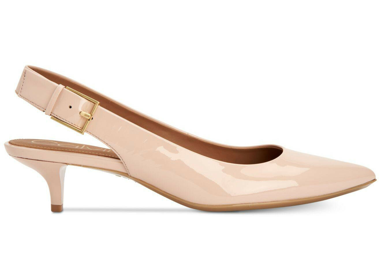 6 6,5 CALVIN KLEIN LUKA SHEER SATIN PATENT LEATHER WOMEN'S KITTEN HEELS Schuhe