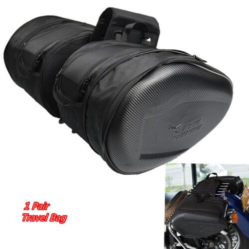 2pcs Cruiser Motorcycle Saddle Travel Bag Side Helmet Luggage Rain Cover 36-58L