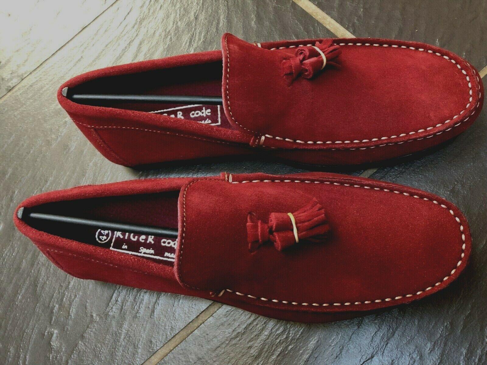 Kiger Code Mens Garnet Red Boat Tassel Suede shoes Size 10 New