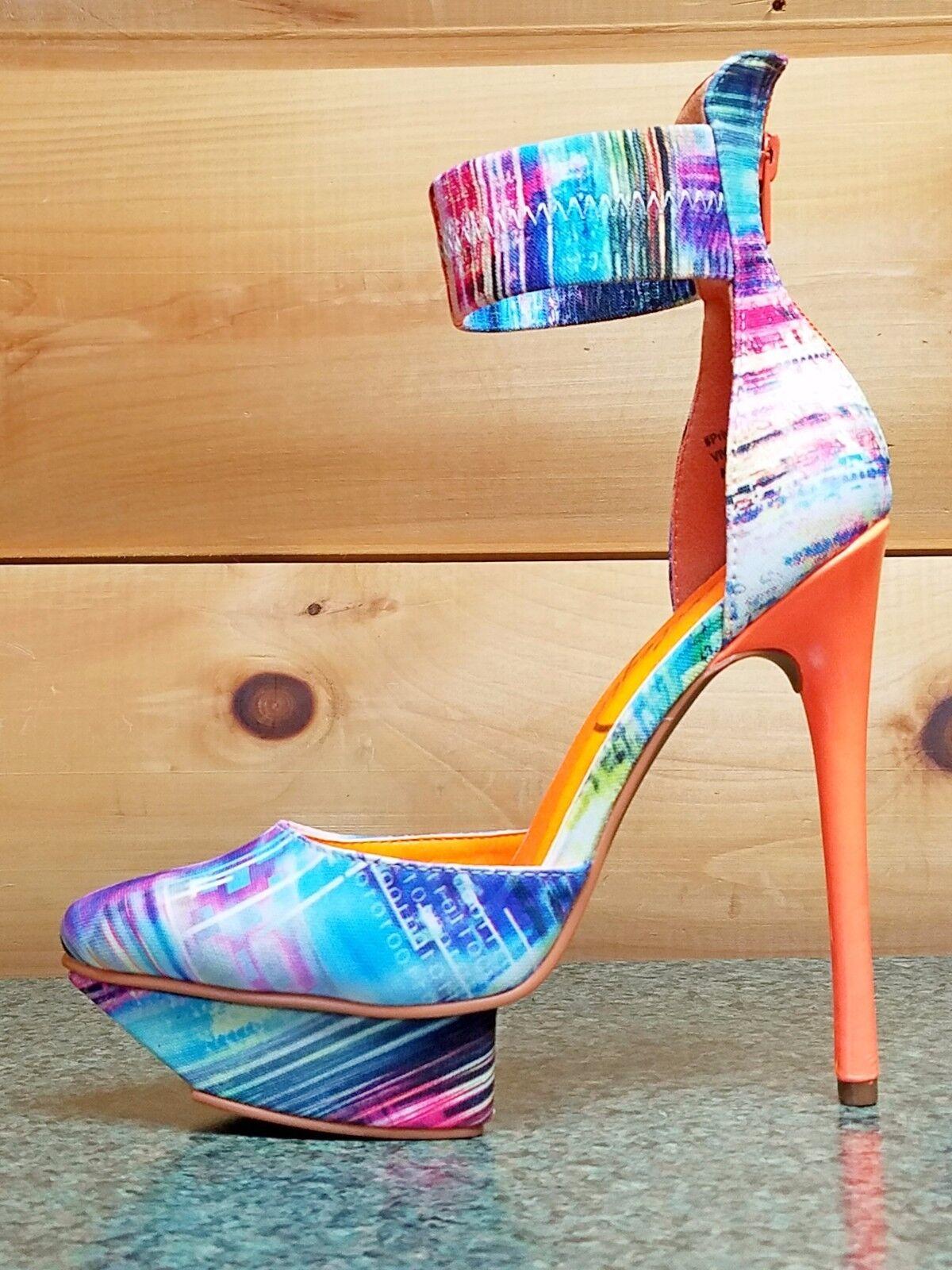 Privileged Viviette bluee     Neon orange Matrix Ankle Cuff Platform shoes 7-11 c4df4c