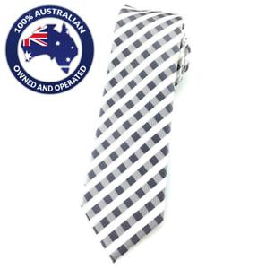 Men/'s Skinny Tie Grey White Gingham Slim 6CM Thin Wedding Tie White Skinny Ties