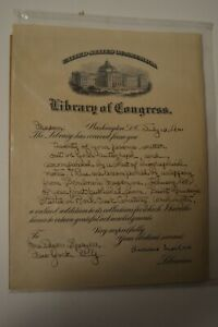 Library of Congress Archibald MacLeish Signed Thank You Letter To Mrs. E. Speyer