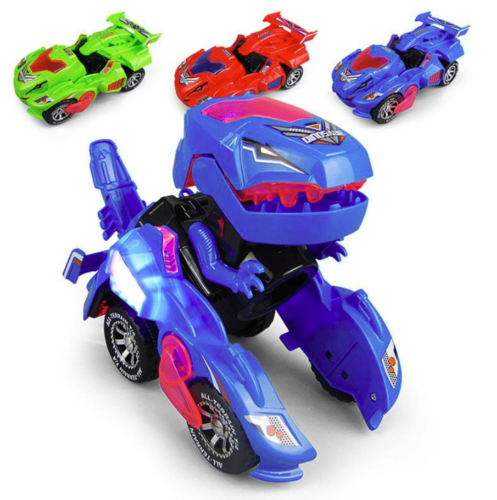 Transforming Dinosaur LED Car With Light Sound for Kids Xmas
