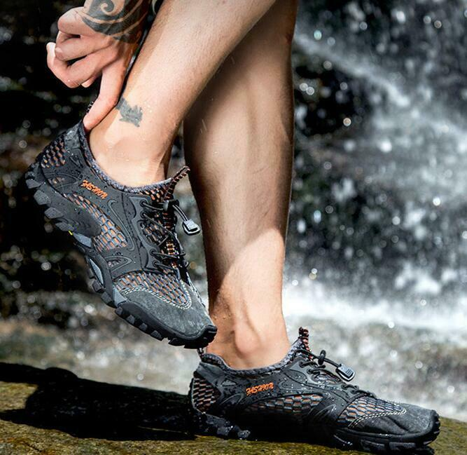 Mens Hollow Breathable Lace Up Hiking Outdoor Sneakers Mesh Sports shoes Fashion