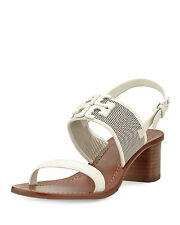 NIB Tory Burch Lowell 2 Perforated Leather Sandals Shoes Ivory 8 M