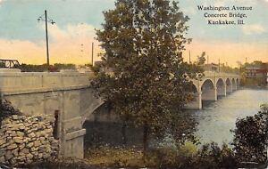 Kankakee-Illinois-Washington-Avenue-Concrete-Bridge-1912-Postcard