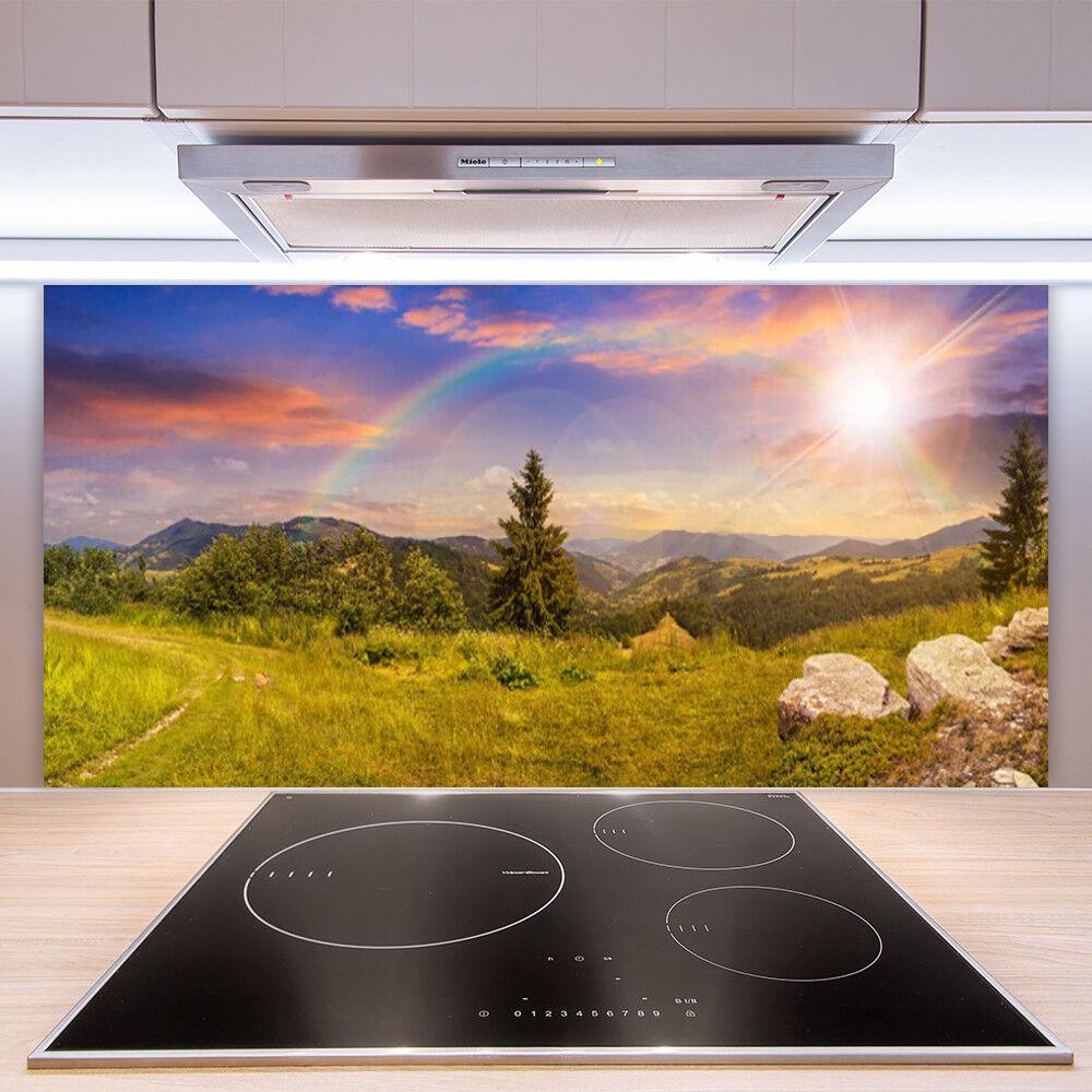 Crédence de cuisine en verre Panneau Paroi 100x50 Nature Prairie Montagne