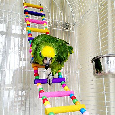 New Swing Wooden Bird Parrot Pet Ladder Climb Crawling Bridge Toy Shelf Cage Fun