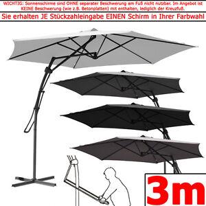 3m ampelschirm hm sonnenschirm rund 300 hebelmechanik ohne kurbel gartenschirm ebay. Black Bedroom Furniture Sets. Home Design Ideas