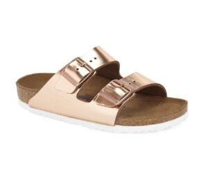 official photos 358a4 13147 Details about Birkenstock Arizona Copper Metallic Leather Soft Footbed Rose  Gold Size 41 N NEW