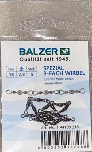 Balzer Spécial 3 Fois Tourbillon tönnchenwirbel Triple vertébrale Truite Taille 18