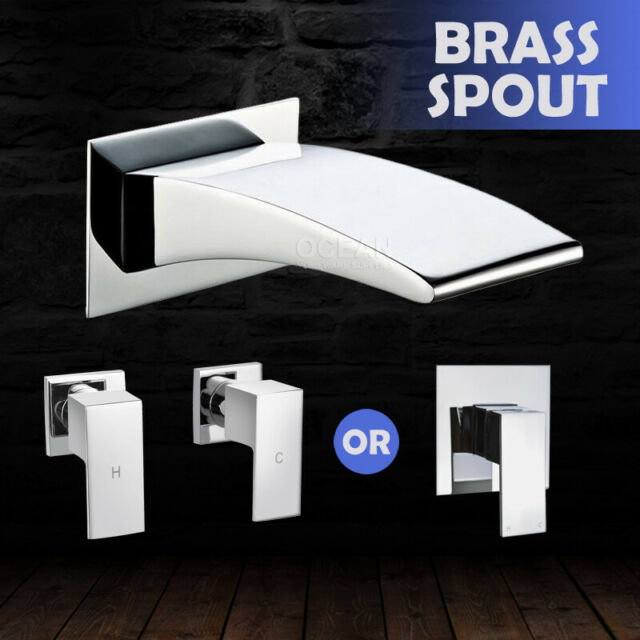 Square Bath Wall Spout Basin Mixer Hot Cold Tap Sink Vanity Shower Faucet Chrome