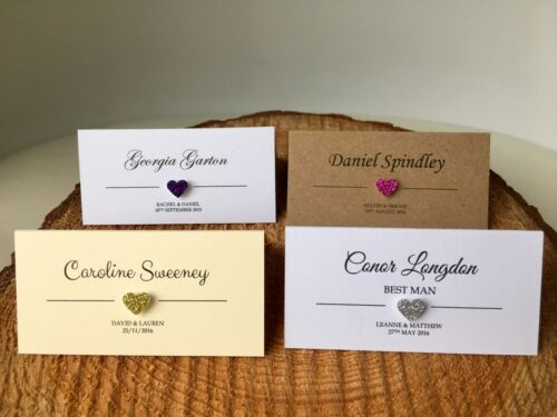 ADDITIONAL ORDER Personalised 3d glitter Heart Wedding place name cards