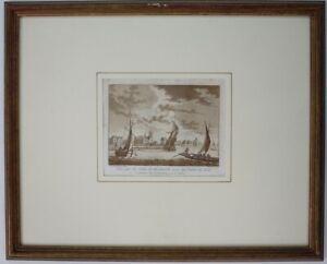 BLICK-AUF-DIE-STADT-DORDRECHT-VON-EINEM-FLOss-Aquatinta-Anfang-19-Jahrhundert