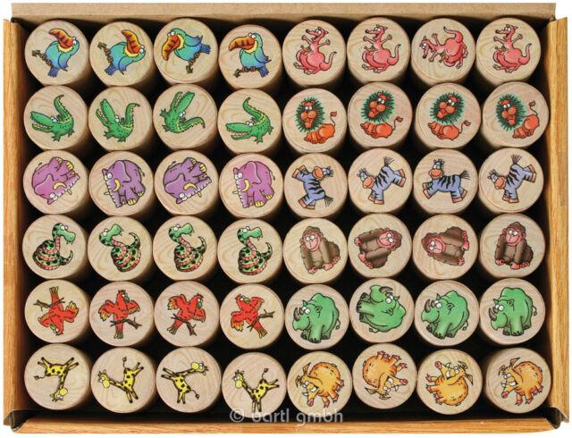 """# 12er Set NEU goki 15363 Stempel mit Motiv /""""Wilde Tiere/"""""""