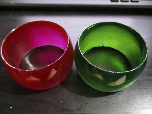 2 Vintage Bangle Bracelets Wide Green & Hot Pink … - image 1