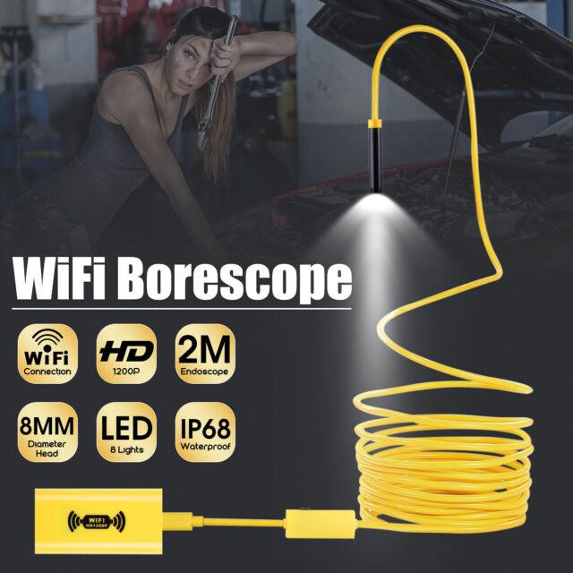 WiFi 2M 8LED 1080P Wireless Endoscope Borescope Inspection HD Camera For Phone
