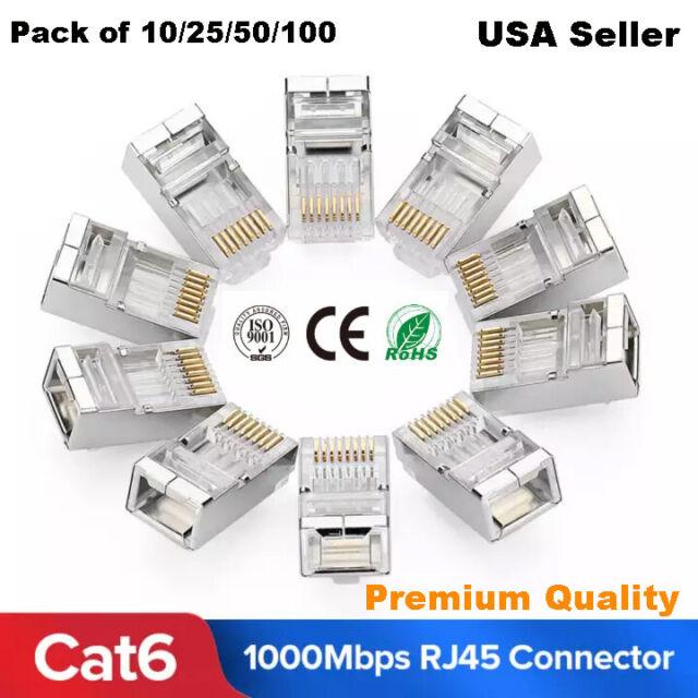 100pcs CAT6 Shielded EZ RJ45 Pass Through Modular Plug Cable Connector End 8P8C