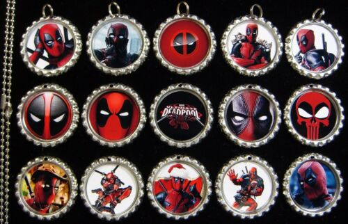15 Deadpool Silver Flat Bottle Cap Necklaces Set 1