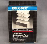 Rolodex 250 White Continuous Form 2 1/6 X 4 Inch Cards C24cf-250 Vintage 1990
