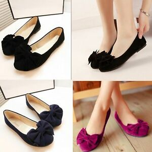 Women Casual Flats Ballet Shoes Bowknot Ballerina Slip on Loafers Round To