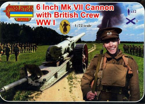 6 Inch Mk VII Cannon with British crew WWI Strelets 1:72