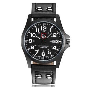 Men-Matte-Dial-Band-Strap-Leather-Wristwatches-Quartz-Wrist-Watch-Watches