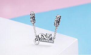 Charm Argent 925 Chat Bracelet Pendentif Femme Type Pandora ExtrêMement Efficace Pour Conserver La Chaleur