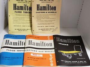 Vtg-5pc-1960-039-s-HAMILTON-Wheels-Casters-Trucks-Catalogs-and-Price-Lists