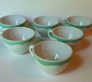 Shenango-China-Coffee-Cups-1964-Restuarant-Ware-Green-Wave-Set-of-6-Wide
