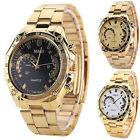 Luxury Men's Fashion Gold Stainless Steel Sport Male Analog Quartz Wrist Watch W