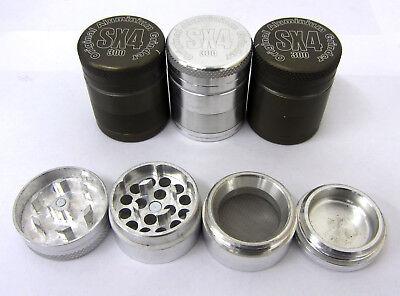 SX4 30mm 2 Layer Mini Metal Tobacco Grinder Aluminium Herb Spice Magnetic Pollinator Silver