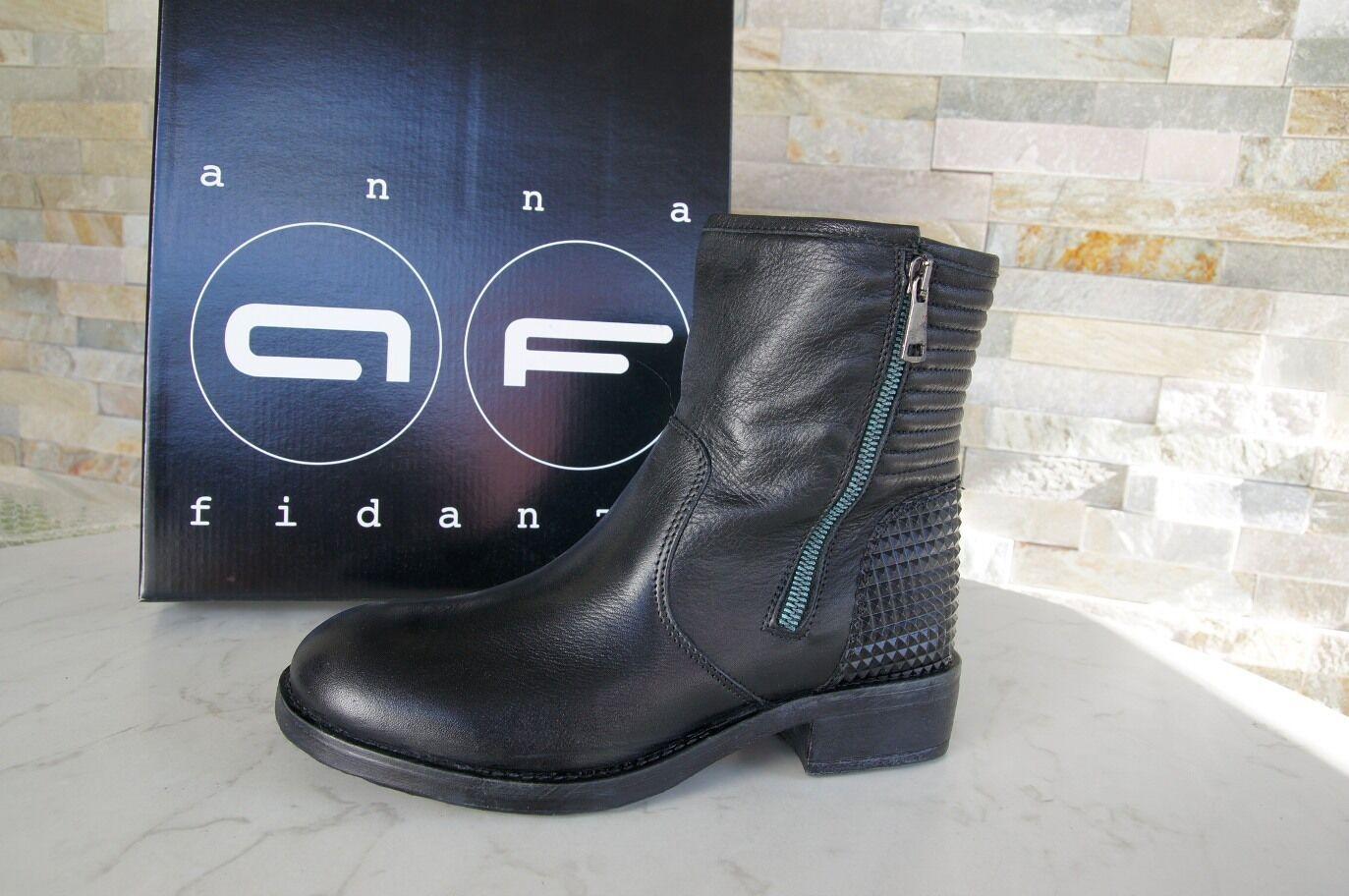 Anna Fidanza T 38 Bottines bottes chaussures en Cuir noir Nouveau Ancien Prix Recomhommedé