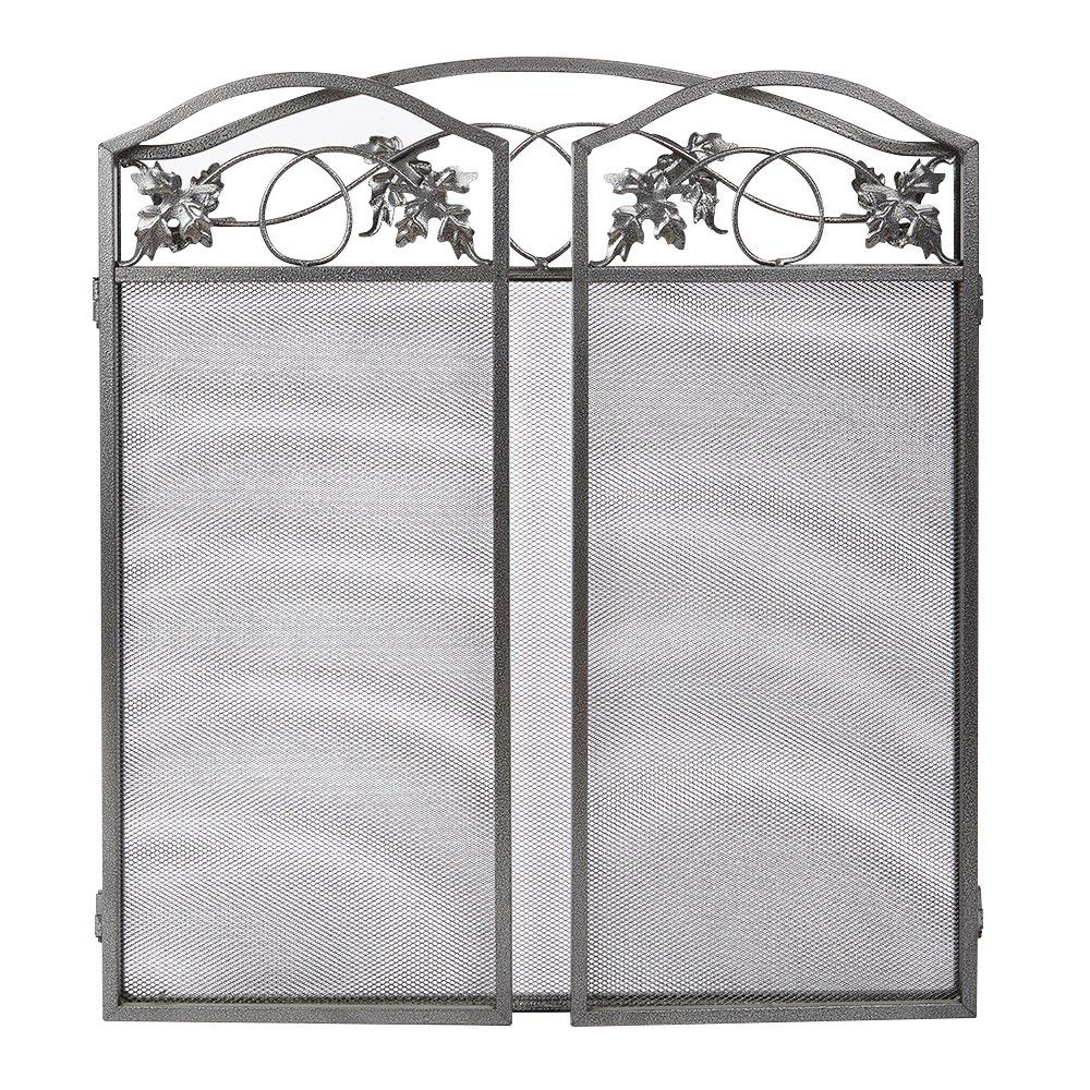 Fireplace Screen Outdoor Leaf 3 Pewter Wrought