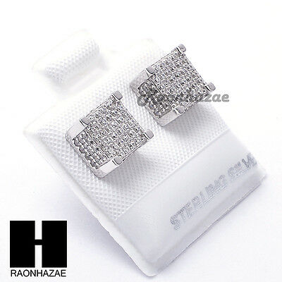 Iced Out Sterling Silver .925 Lab Diamond 8mm Square Screw Back Earring SE028S