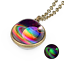 Nebula Galaxy Double Sided Pendant Necklace Planet Women Jewelry Glass Charm
