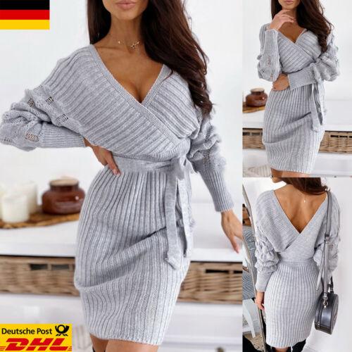 Damen Strickkleid Langarm Sweatshirt Pulloverkleid Minikleid Riemchen Partykleid
