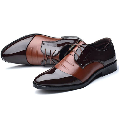 Mens Formal Dress Shoes Lace Up Patent Leather Oxfords Casual Wedding Party Size