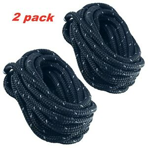 2pcs-3-8-Inch-15-FT-Reflective-Double-Braid-Nylon-Dockline-Mooring-Rope-Black