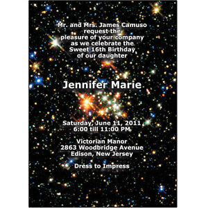 25 personalized sweet 16 party invitations with envelopes universe