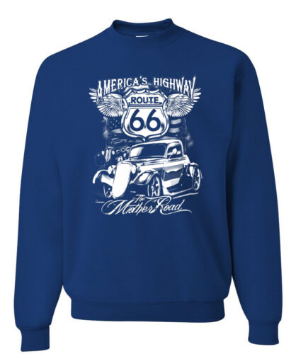 Route 66 America/'s Highway Crewneck Sweatshirt The Mother Road Biker Motorcycle