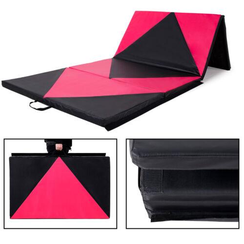 "4/' x 10/' x 2/"" Gymnastics Gym Mat Folding Exercise Yoga Panel Fitness Pink Black"